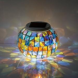 GRDE® Bunte Sphärische Mosaik Lampe, Nachtlicht, LED Lampe mit Farbwechsel, Wasserdichte Solar Leuchte, Kristallglas-Leuchte für Garten, Patio, Tabelle, Innen- Dekorationen by GRDE