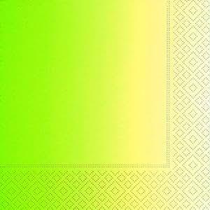 Gradient de 20 serviettes en papier vert dégradé vert/jaune motif 33 x 33 cm