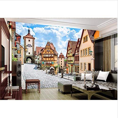 Wmbz personalizzato murale 3d carta da parati in stile europeo architettura città decorazione pittura 3d murales carta da parati per soggiorno-200x140cm