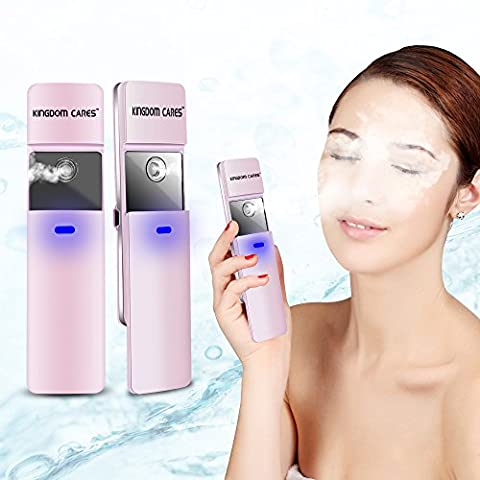 KINGDOMCARES Sliding Nano Facial Mist Sprayer Ionic Mist Facial Steamer For Skin Dryness Oil Dirt USB Rechargeable Mini Moisturizing Body Hair Face Eyelash Extensions Atomization Beauty Steamer Atomizer Handheld Humidifier