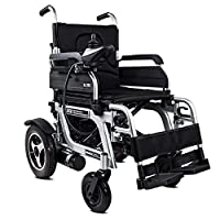 Portable Electric Wheelchair - Foldable Power Compact Mobility Aid Wheel Chair, Lightweight Folding Carry Electric Wheelchair - Speed 1-8km/h, Maximum Load 120KG (Black)