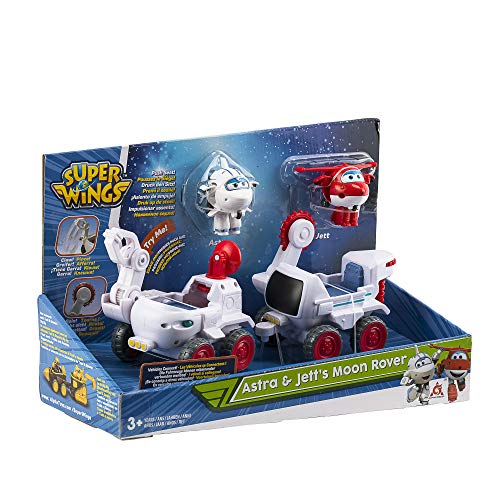 """Auldey - Super Wings-Véhicules Connectables Astra's Moon Rover + 2 """"Transform'a'bot"""" Astra/Jett- EU720840A"""