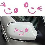 Tuqiang® Nettes Lächeln Gesicht 3D Aufkleber Aufkleber für Auto Auto Außenspiegel L + R Rück Car Stickers (Rosa)
