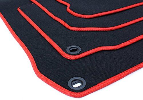 NUEVO. Pie alfombrillas Volkswagen R32RSI Golf 4Bora Beetle terciopelo Original Calidad Auto Alfombra GTI Jubi 4piezas Negro/Rojo Ovalado