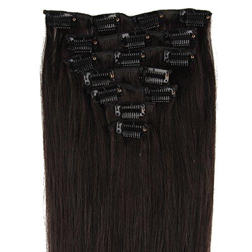 Beauty7 7 Clips Extensions de Cheveux Humains à Clip 100% Remy Hair 1B Couleur Noir Brun Longueur 40 cm Poids 70 grams