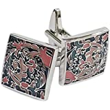 YouBella Jewellery Silver Plated Multi-Color Formal Cuff Links Cufflinks Set for Men