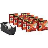 Scotch Crystal - Pack con dispensador C60, color negro y 10 rollos de cinta supertransparente (2 rollos y 1 dispensador C60)