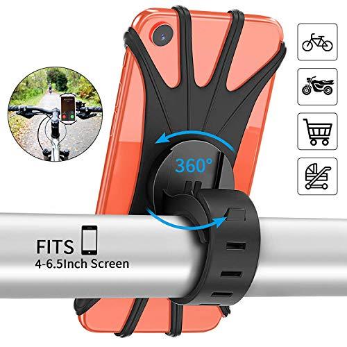 PEYOU Handyhalter Fahrrad, [2019 Neu] Handyhalterung Fahrrad Silikon für iPhone X/8/7/6 Plus, Samsung, Huawei, Handy mit 4-6,5 Zoll, Verstellbarer Handyhalter für Fahrrad Motorrad, 360° Rotation
