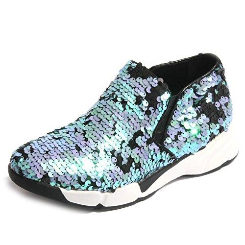 B0266 sneaker donna UMA PARKER NY blu/viola/nero paillettes shoe woman