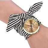 Uhren Damen, HUIHUI Geflochten Armbanduhren Günstige Uhren Wasserdicht Beliebte Casual Streifen Blumentuch Quarz Vorwahlknopf Armband Armbanduhr Luxus Armband Coole Uhren Lederarmband Mädchen Frau Uhr (Schwarz)
