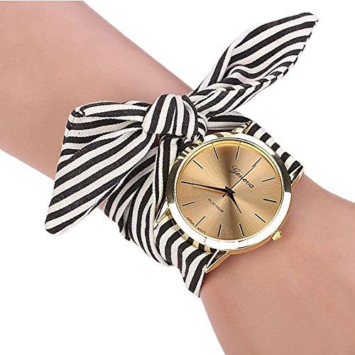 HUIHUI Uhren Damen, Geflochten Armbanduhren Günstige Uhren Wasserdicht Casual Streifen Blumentuch Quarz Vorwahlknopf Armband Armbanduhr Luxus Armband Coole Uhren (Schwarz)