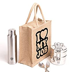 Love my job, printed jute bag,specially design to carry lunch (Lunch bag,Medium Size, Height:11in, Lenght: 9in, Width:6in)