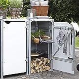 Hide Mülltonnenbox, Mülltonnenverkleidung, Gerätebox weiß // 121x63x115 cm (BxTxH) // Aufbewahrungsbox für 2 Mülltonnen 140l Volumen