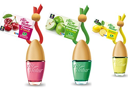 3 Stylisch-modische Air Natur Little Bottle Duftflakons Lufterfrischer Auto- und Raumduft 6ml - 1x Apple - Apfel, 1 x Cherry - Kirsche, 1 x Lemon - Zitrone