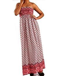 Young-Fashion Damen Maxikleid Hippie Bandeau Long Dress Strandkleid  Trägerlos Langes Kleid für Frühling und Sommer Jumper aus aus… 17932fcab4