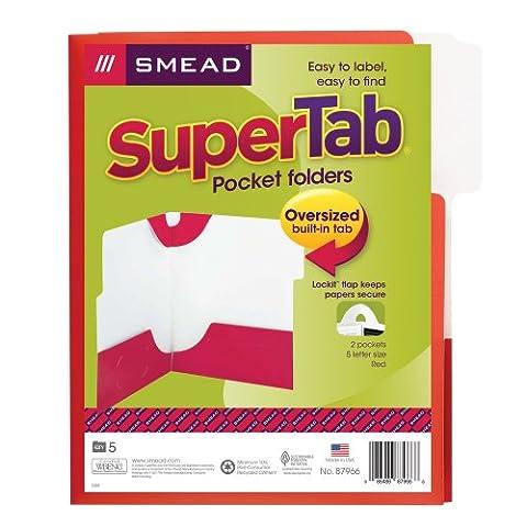 Smead SuperTab® Two-Pocket Lockit Folders, Laminated Stock, Red, 5 per