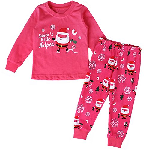 (BOZEVON Baby Jungen & Mädchen Weihnachten Kleinkind Fancy Party Kostüm Lange Ärmel Tutu Outfit Santa Neujahr Outfits Kinder Pyjamas Weihnachtskostüm Set, Rosa)