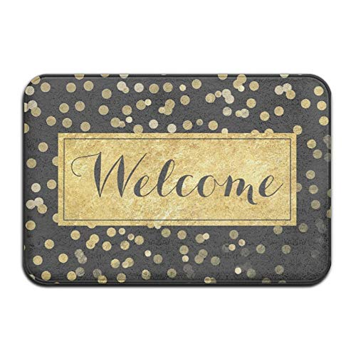 Goodsale2019 janscomy girly foglia oro puntini su nero tappetino antiscivolo super benvenuto assorbente, tappeto corallo, tappetino tappetino, moquette, moquette, tappetino porta, 40x60 cm