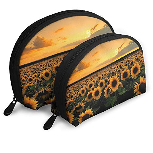 273260e20371 Portable Shell Makeup Storage Bags Beautiful Sunflowers Scenery Graphics  Travel Waterproof Toiletry Organizer Clutch Pouch for Women