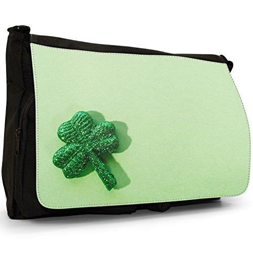 Fancy A Bag Borsa Messenger nero Shamrock Irish Lucky Clover Shamrock Irish Lucky Clover