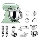 KitchenAid Küchenmaschine Artisan, 5KSM175PS, Veggie Paket inkl. TOP Zubehör: Gemüseschneider inkl. Zusatztrommeln, Spiralschneider und Standardzubehör (Pistazie)