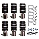 #4: Home Decor Jet Black Finish Design Curtain Finials Knob 6 Pcs and Support Bracket 6 Pcs with Assembly