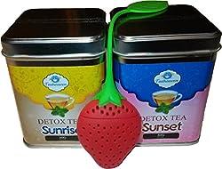 Detox Tee von TeaHeaven - 2 und 4 Wochen Kur zum Entgiften - Entschlacken und Abnehmen - Bonus: Gratis Ernährungsplan und Erdbeer Tee Ei