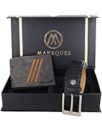 MarkQues Falcon Men's Gery And Black Leather Wallet & Belt Combo (FC-2213 URB-01)