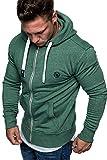 Amaci&Sons Herren Zipper Kapuzenpullover Sweatjacke Pullover Hoodie Sweatshirt 1-04029 Grün S
