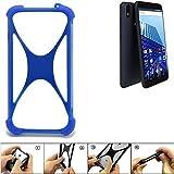K-S-Trade Bumper für Archos Access 57 Silikon Schutz Hülle Handyhülle Silikoncase Softcase Cover Case Stoßschutz, blau (1x)