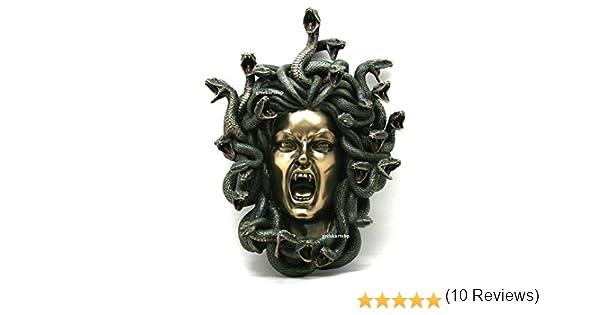 Medusa /à t/ête de serpents gothique plaque murale D/écor Statue Finition bronze 37/cm