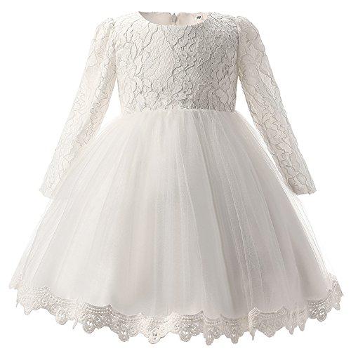 Kinder Mädchen Brautkleider Lange ärmel Kleid Bowknot Tüll Blumenspitze Hochzeit Prinzessin...