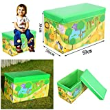 Kids Toys Books Childrens Lid Tidy Large Storage Box Folding Stool Seat Toy Box Boys Girls Chest Clothes (Zoo)