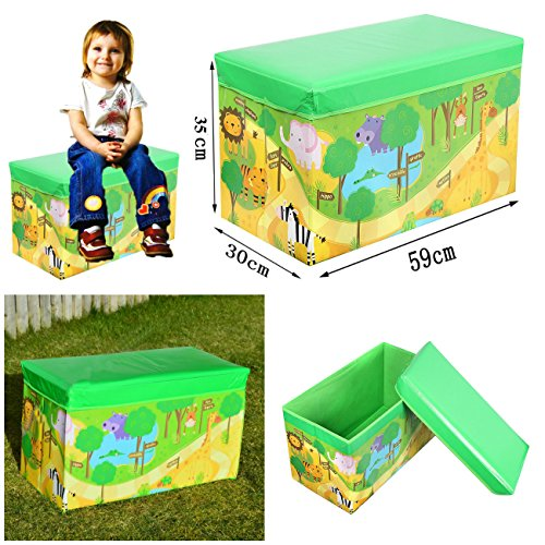 FunkyBuys Kids Toys Libri per Bambini, Motivo Tidy, Storage Box Sgabello Pieghevole Toy Box Boys Girls Petto Vestiti, Zoo, Multicolour