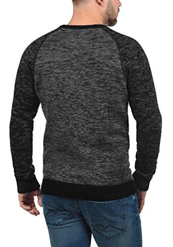 BLEND Bruce Herren Strickpullover Feinstrick Pulli mit Rundhals-Ausschnitt aus hochwertiger Baumwollmischung Meliert Black (70155)