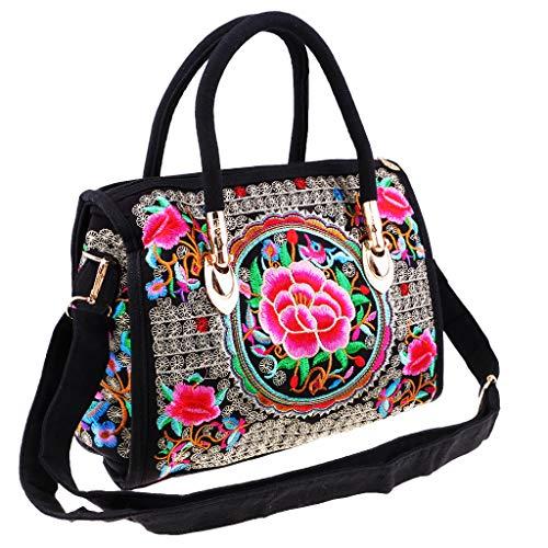 perfk Ethnische Einkaufstasche Stickerei Umhängetaschen mit Handgriffe - Stickerei Handtasche - Geschenk - Farbe 5