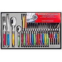 Laguiole Heritage - Ménagère 24 pièces multicolore - Set de couverts de table acier inox et ABS pour 6 personnes…