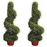 Garden Best Buys - Coppia di cespugli artificiali a spirali, alti 80 cm, per interni ed esterni