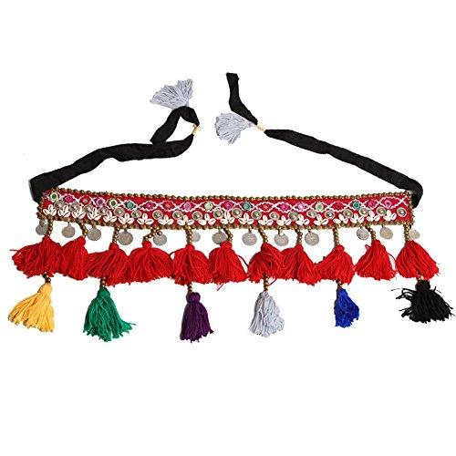 frau hüfttuch trainieren taille kette handgefertigt indien bauch tanzen tribal schale wulstig münze quaste schals wickeln rock gürtel . red . one (Night Kostüm One Stand Ein)