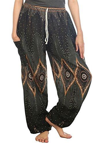 Lofbaz Pantaloni Coulisse da Donna Harem boemo bohemien Casual Aladdin Diamond Verde Scuro
