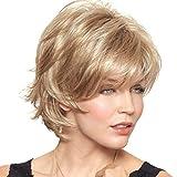 SHKY Lady Nuevo corto ondulado pelo resistentes al calor Bobo corto sintético pelucas cortas para las mujeres (rubias) , a
