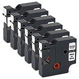 OfficeWorld 6 x Kompatibel DYMO D1 Etikettenband 45013 S0720530 Schriftbänder Schwarz auf weiß für DYMO LabelPoint 100 150 250, LabelWriter 400, LabelManager 160 120P 210D 420P 500TS PnP, 12mm x 7m