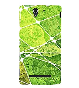 Green Square Pattern 3D Hard Polycarbonate Designer Back Case Cover for Sony Xperia C3 Dual :: Sony Xperia C3 Dual D2502