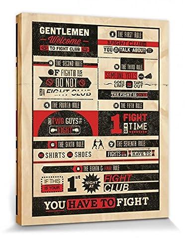 1art1 70981 Fight Club - 8 Regeln, Ihr Verliert KEIN WORT Poster Leinwandbild Auf Keilrahmen 50 x 40