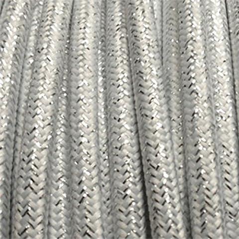 Câble électrique textile - Fil électrique tissu Blanc Brillant -