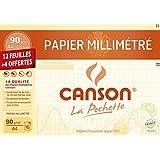 Canson 200002785 Pochette Papier millimétré 12 feuilles + 4 offertes 90g A4 Bistre