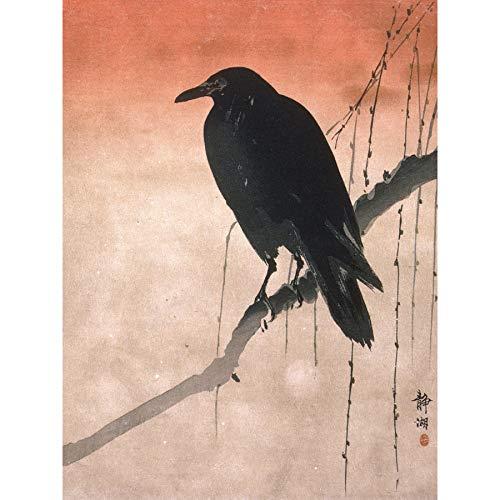 Seiko Crow Willow Tree Branch Japan Painting Large XL Wall Art Canvas Print Baum Malerei Wand