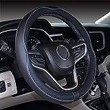 Istn Mikrofaser Leder Auto Lenkradbezug 38cm für die meisten Autos (Black Gray)