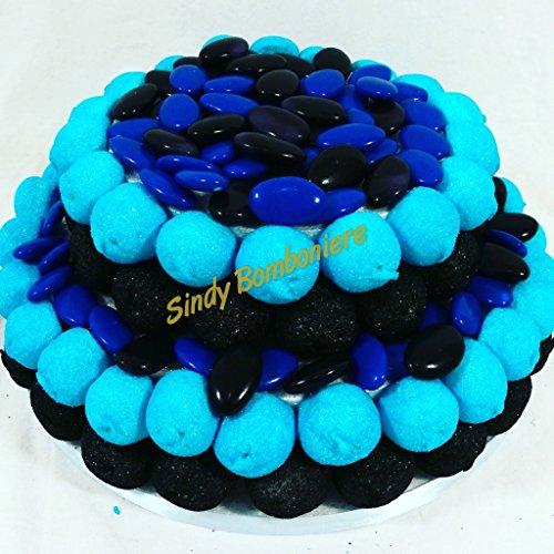 Sindy bomboniere torta di marshmallow e confetti crispo inter originale caramellata, confettata tema calcio blu e nero