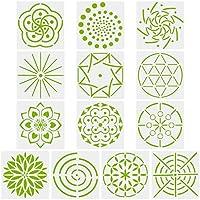 Novelfun Mandala - Plantillas para pintar puntos, juego de 13, plantillas de mandala para decoración de paredes de piedras, lienzo, muebles de madera, bricolaje, dibujo artístico